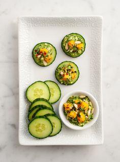 Cucumbers with mango pesto