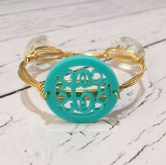 monogrammed stone and wire bangle