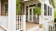 front porch idea: includes the screened in porch as well as a deck-like area. front porches