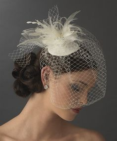 Modern look - birdcage veil with a cool bridal hat . . .