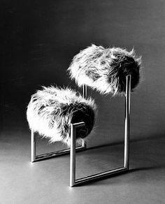 Nanda Vigo; Chrome-Plated Tubular Steel 'Due Più' Chair for Conconi, c1971.  , fabric.  Manufactured by Conconi,