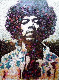 music, artists, guitar picks, mosaics, jimi hendrix, fender guitars, jimihendrix, portrait, mosaic art