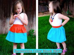 Shwin: Reversible Color Block Skirt Free Pattern