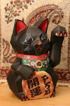 Maneki Neko made of paper.