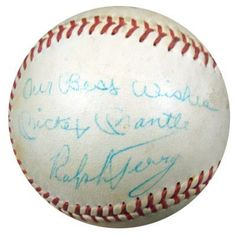 Mickey Mantle & Ralph Terry Autographed Vintage Little League Baseball Our Best Wishes PSA/DNA #P01671 . $599.00. This is an Official Little League Baseball that has been hand signed by Mickey Mantle & Ralph Terry. This is a Vintage autograph signed in the 1960's. The autograph has been authenticated by PSA/DNA. It has their sticker and matching full page certificate.