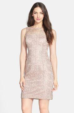 Rose gold sequin + lace dress