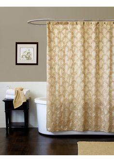 Angelica Shower Curtain  Features a taffeta design with allover cord embroidery and sequins