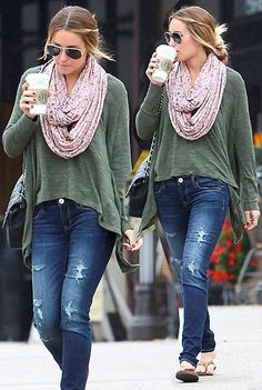 Adore this look. You'll rarely catch me without a scarf - especially in the fall, and isn't this a perfect transitional look with the thin sweater and scarf paired with sandals?!