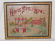 """Home Sweet Home"" w/ House, Landscape, & Gazebo, Just Exquisite! Antique Victorian Punch Paper Motto Sampler"