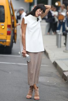 Best #streetstyle @ Spring 2015 Ready-to-Wear #NYFW | a white over-sized top paired with a camel loose-fit pencil skirt and matching heeled sandals