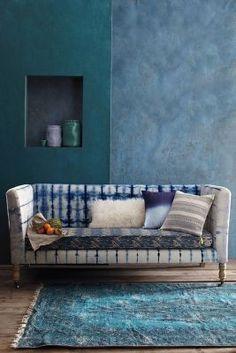 Hand-Dyed Shibori Sofa #anthrofav #greigedesign
