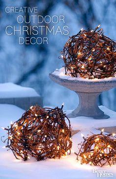 I love the idea of lighting up grapevine balls for outdoor decorating