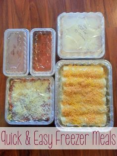 Freezer Meals ~ Honey Lime Chicken, EnchiladasBaked Ziti (Rotini),Turkey Veggie Meatloaf.