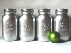 Christmas / Winter Home Decor - Vase - Painted Mason Jars - Silver Quart. $24.00, via Etsy.