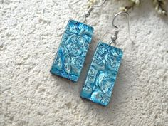 Icy Blue Silver Dangle Earrings  Dichroic Glass by ccvalenzo, $18.00
