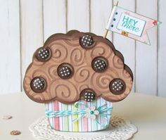 cupcake shaped card with button brads for sprinkles - bjl