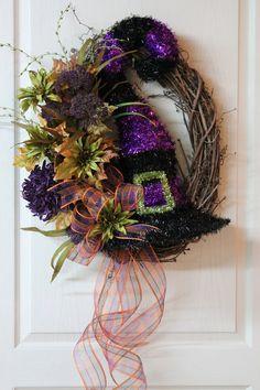 Large Front Door Wreaths   Halloween Front Door Wreath, Unique Witch Hat With Purple & Lime Green ...