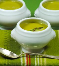 Mini tureens filled with Sherried Cream of Asparagus Soup.  #CatsSayCheese