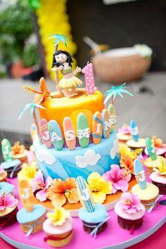 surf Birthday Party Ideas | surf board birthday cake - Kara's Party Ideas