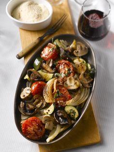 Oven Roasted Mushroom and Vegetable Salad.