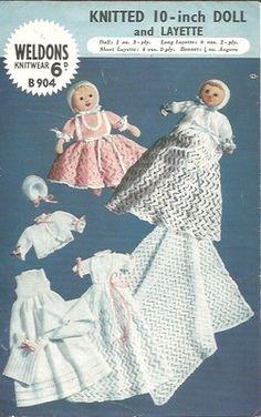 Original Vintage Weldons Knitting Pattern - 10 inch doll & layette