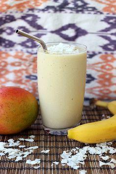 Coconut Mango Banana Smoothie - Gluten-free, Vegan + Refined Sugar-free - Tasty Yummies
