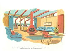 Interior from Second Homes for Leisure Living published by the Douglas Fir Plywood Association in 1960.