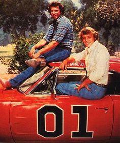 Luke and Bo Duke on the General Lee - My first crush as a kid :)