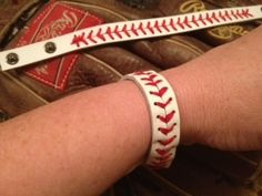 "Leather Baseball Snap Bracelet Red Stitching--UNISEX 7"" or 9"""