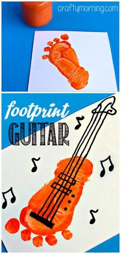 Footprint Guitar Craft for Kids #Footprint art project | CraftyMorning.com