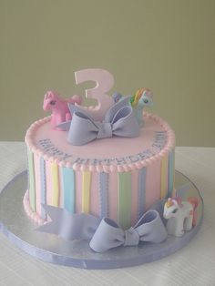My Little Pony birthday cake...would be cute for a baby shower too.