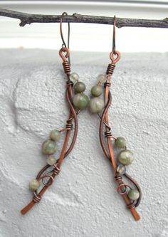 long boho earrings wire wrapped earrings by Kissedbyclover