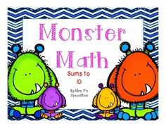 Monster Math Addition Mats are the perfect tool to use year round with students. The mats cover addition problems with sums up to and including 10. Teachers can use these mats to teach the concept of adding two groups together in a visual and concrete way. These mats allow for students to see and manipulate groupings in different ways including ten frames. Once students understand the addition concept these mats can be used as independent practice.