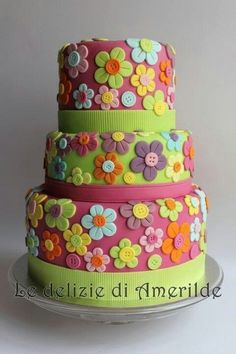 . cupcak, button flowers, floweri cake, flower cakes, colorful cakes, cake decor, flower power, summer colors, birthday cakes