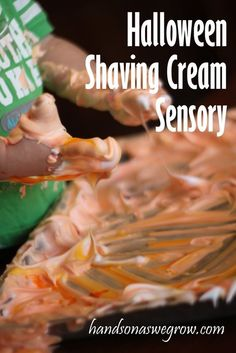 A shaving cream sensory activity for toddlers. Orange for Halloween! Like it Messy!