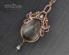 Black agate stone pendant necklace, wire wrapped jewelry- handmade