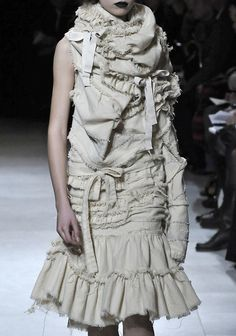 Dress with gathered layers and raw edges - fabric manipulation; deconstructed fashion design; sewing // Tao Comme des Garcons