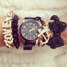 bling, everyday fashion, style, armcandi, accessories, gold watch and bracelets, jewelri, arm candies, anchor