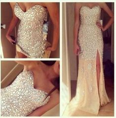 Dress: glitter gorgeous white bling nude, gold, diamond, glitter, long , slit, grad pretty formal