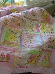 girly quilt by retro mummy, via Flickr includes tutorial for wonky log cabin block