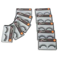 New 10 Pair Reusable Long Fake False Eyelashes Glue Adhesives Eye Lashes Makeup Black 026