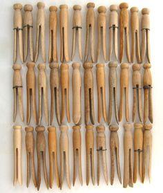 36 vintage clothespins