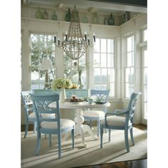 White table & blue chairs!