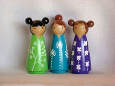 3 friends peg people from pegged on etsy