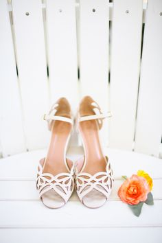 cut-out wedding shoes, photo by Adrienne Gunde http://ruffledblog.com/christmas-house-inn-wedding #weddingshoes