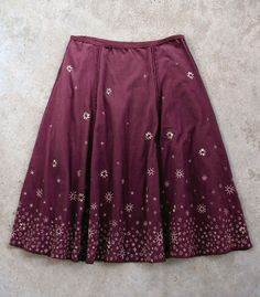 beautiful Alabama Chanin, hand-sewn, hand-embroidered cotton jersey skirt. love the color