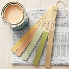 Use stir sticks to recall your paint colors. Write paint name and number on end of stick, along with what you painted. Bundle with sticks with twine.../