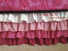 ruffle bed skirt, fabulous tutorial!!!!!!Life Crafts & Whatever: Ombre ruffled bed skirt