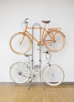 Michelangelo Two Bike Gravity Stand storage solutions, stand design, bike storage, retro bikes, space saving, bicycle accessories, small spaces, storage ideas, bicycle storage