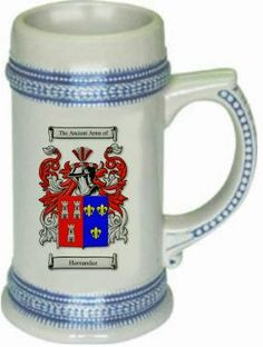 Hernandez spanish coat of arms | coatofarms -  $21.99 atwww.4crests.com - This stein starts with the family coat of arms hand drawn digitally. We then use a high quality 22 oz. ceramic stein to apply the coat of arms to via sublimation.